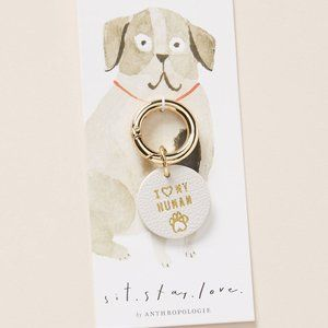 "Anthropologie ""I Love My Human"" Dog Collar Charm"